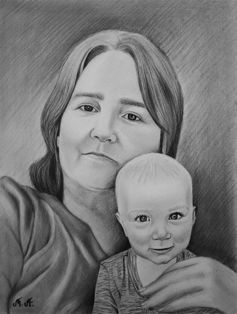 Beautiful charcoal drawing of a lady with a baby