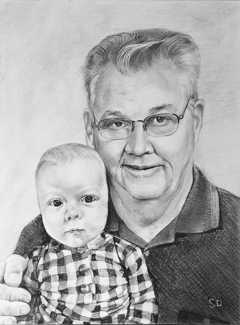Custom handmade charcoal drawing of a grandfather and child