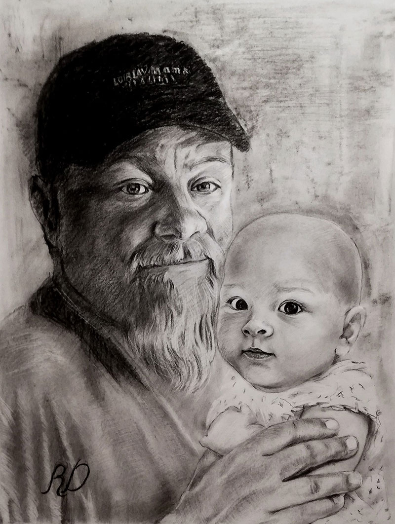Custom charcoal drawing of a grandfather and a grand kid