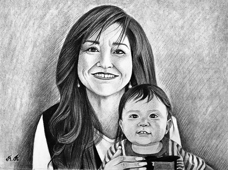 Custom handmade charcoal drawing of a mother and son