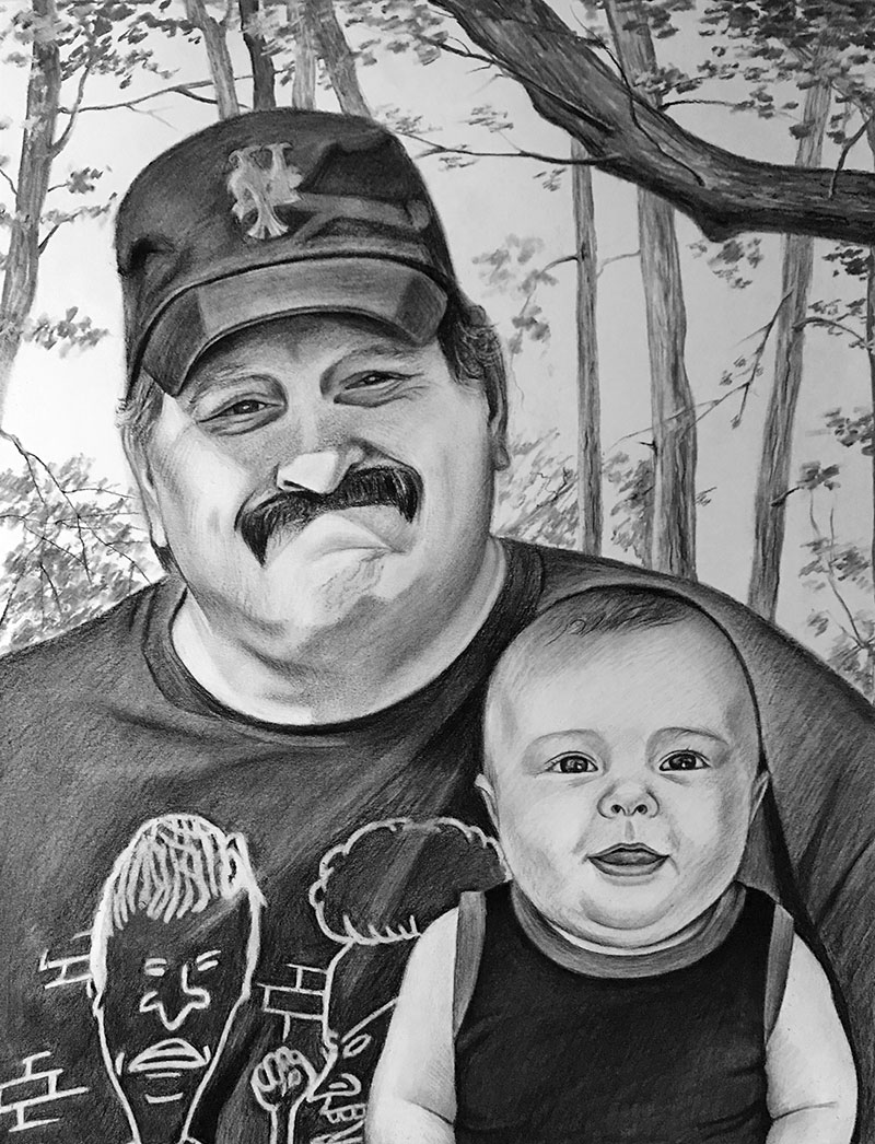 Custom charcoal drawing of a man with a child