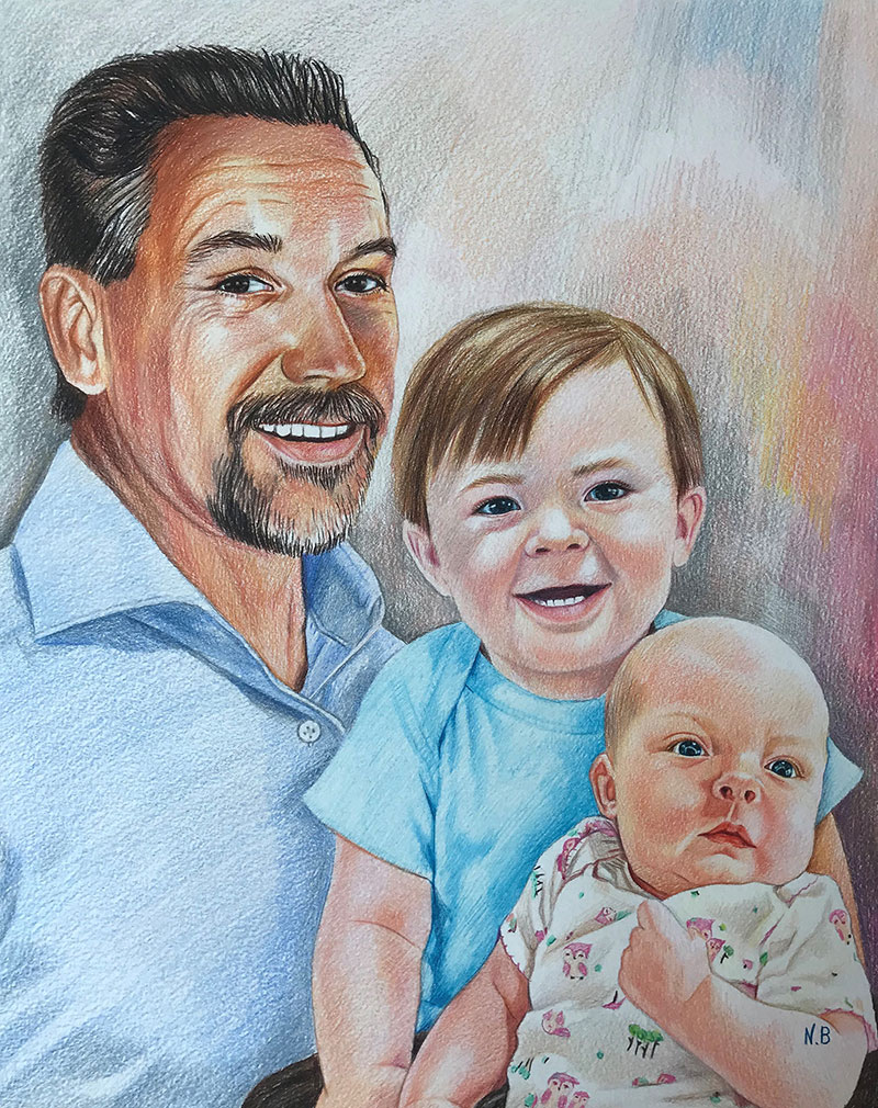 Custom handmade color pencil drawing of a family