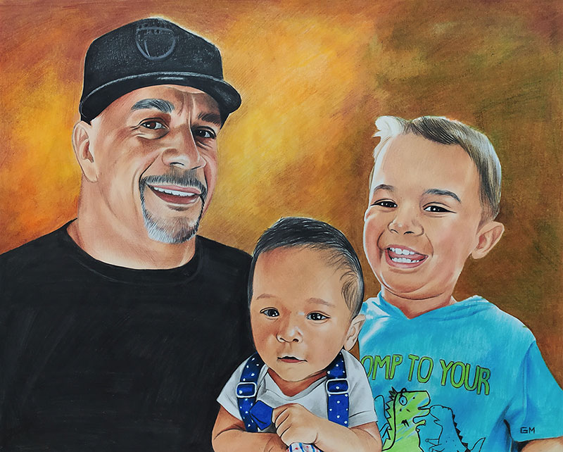 Beautiful color pencil drawing of a man with two kids