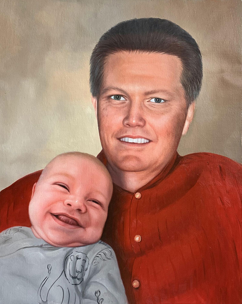 Custom oil painting of a father and a baby