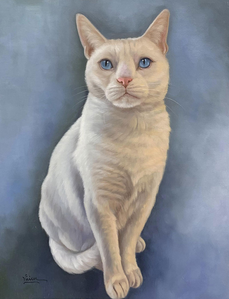Custom acrylic painting of a white cat with blue eyes