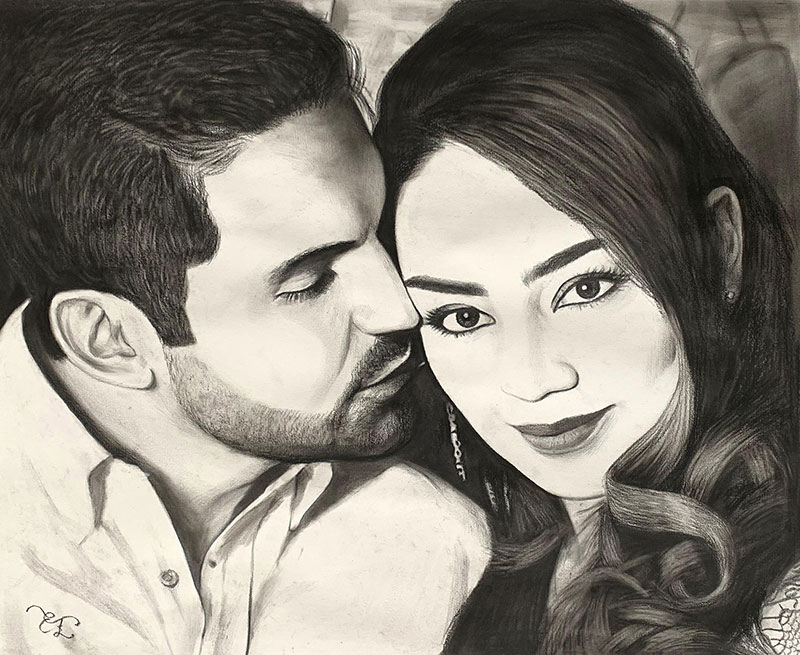 Beautiful charcoal drawing of a loving couple