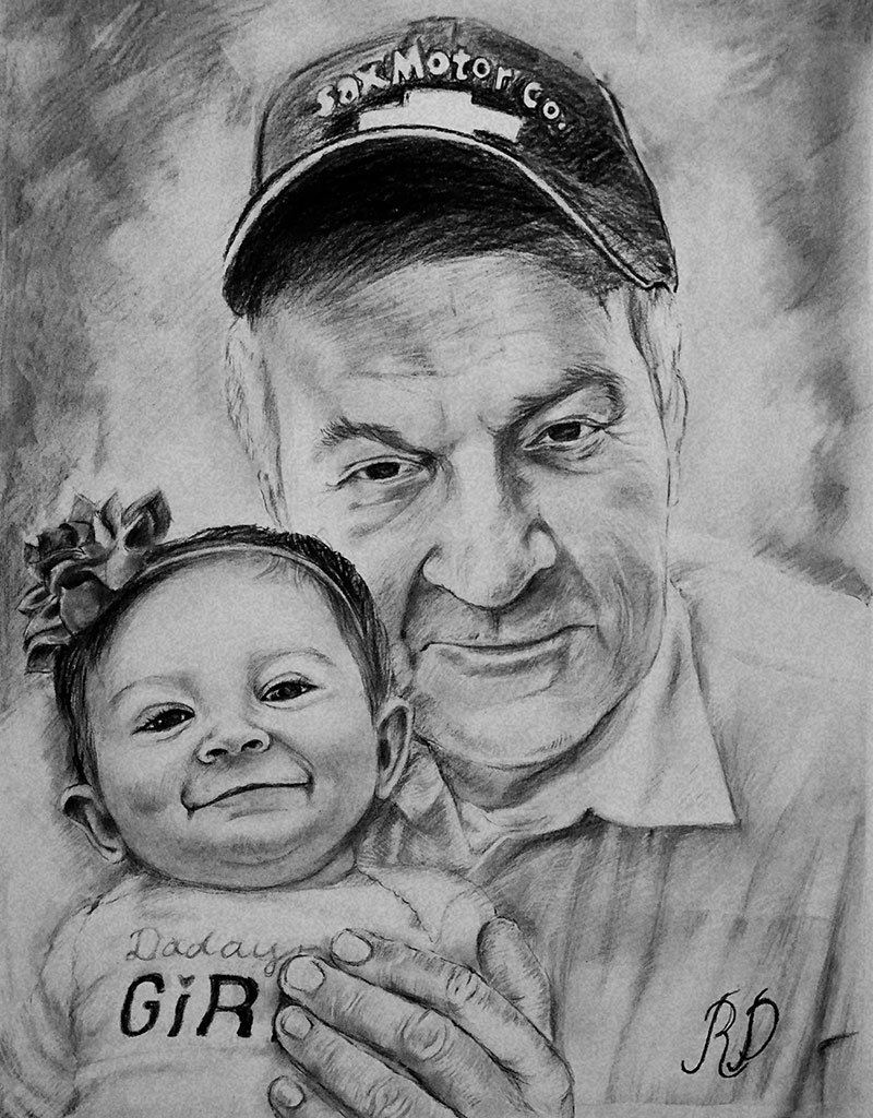 Custom charcoal drawing of a grandfather and a grandchild