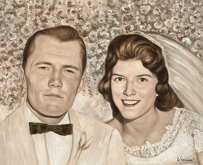 Beautiful vintage oil portrait of a just married couple