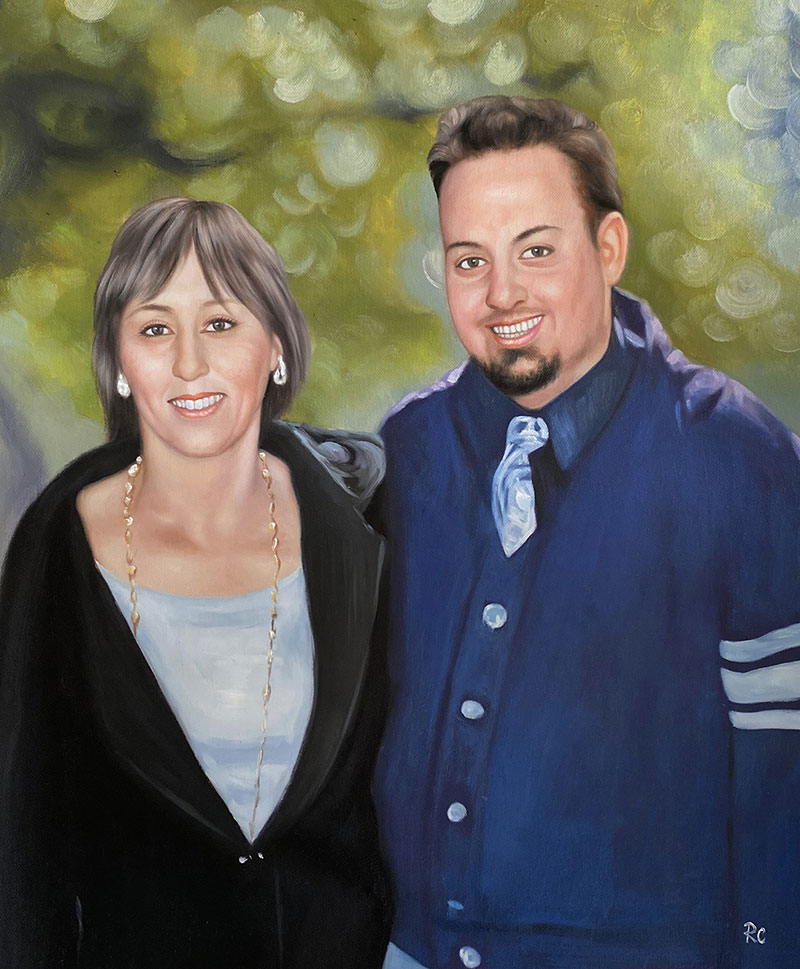 Custom oil painting of a mother and son