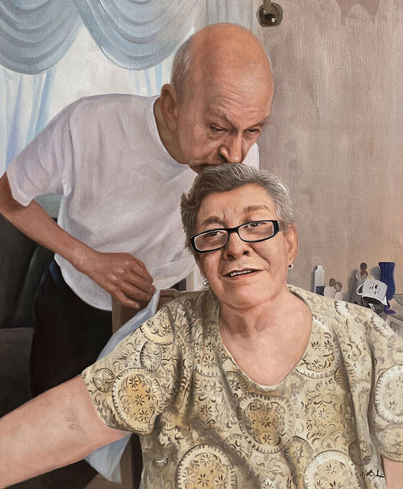 Beautiful acrylic painting of an elder couple