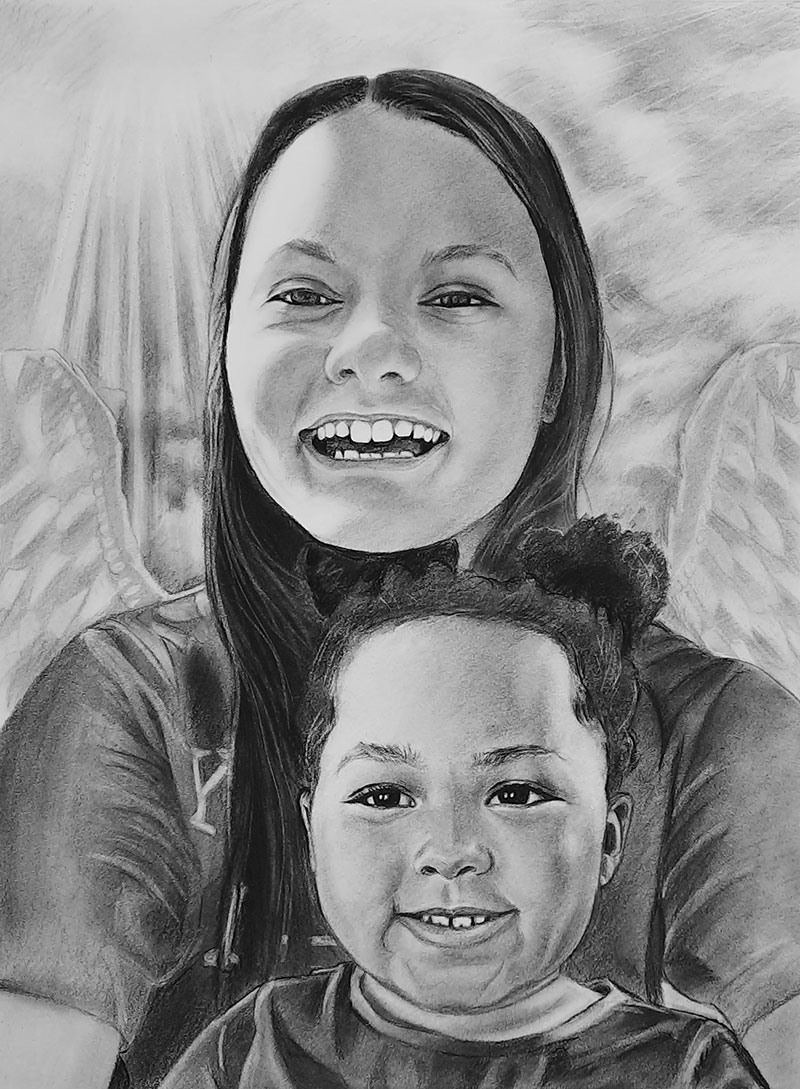 Gorgeous handmade charcoal drawing of a parent and child