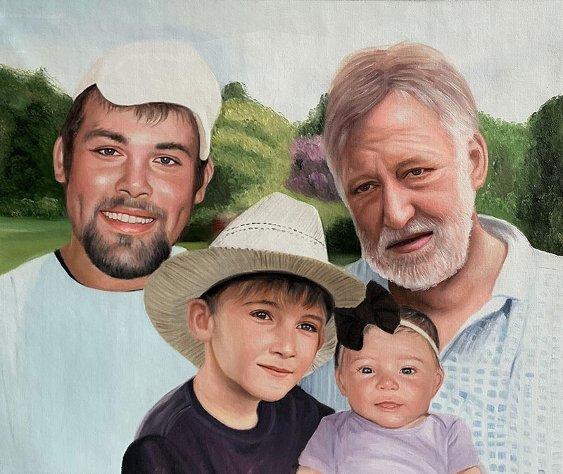 Custom oil painting of two adults with children