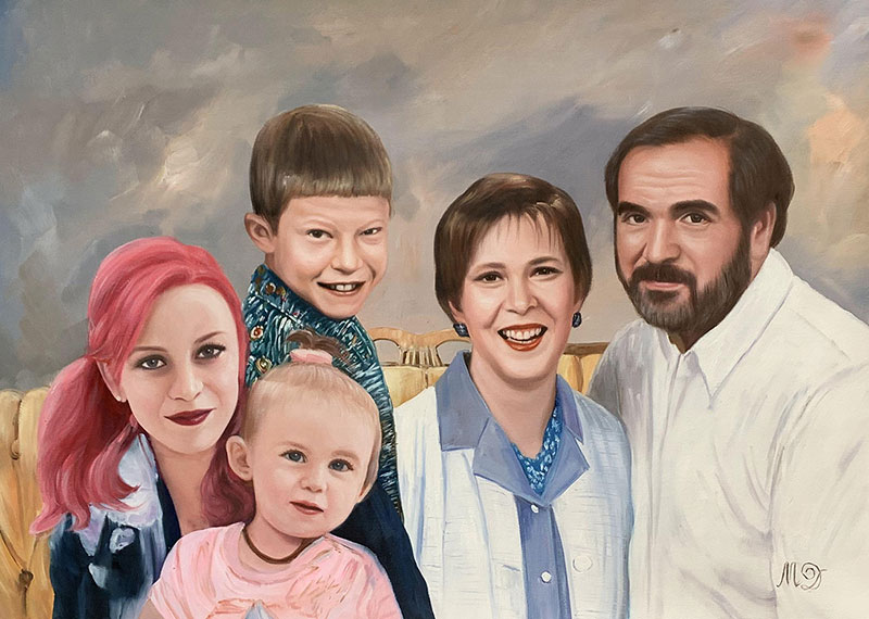 Custom oil painting of a family