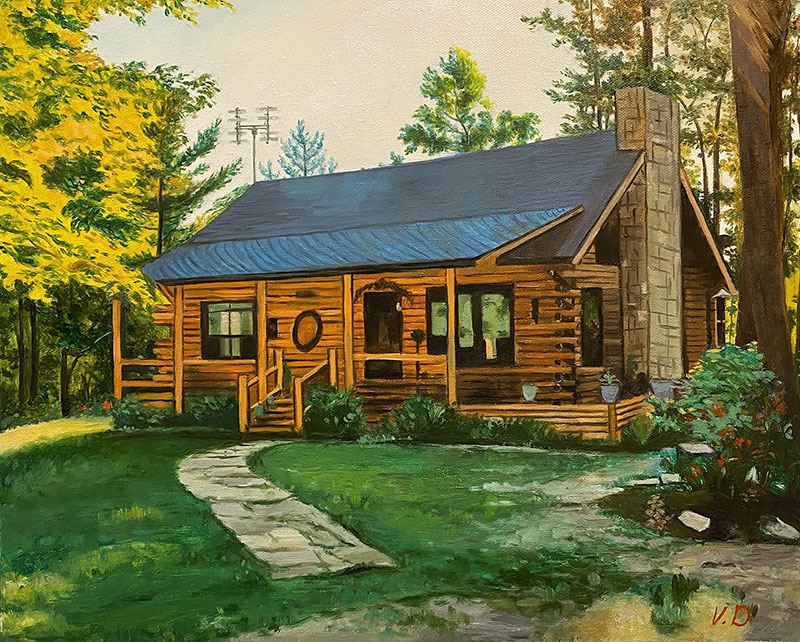 Stunning oil painting of a house in the woods
