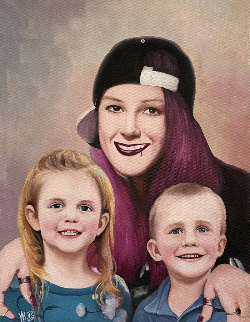 Custom handmade oil painting of a mother with two children