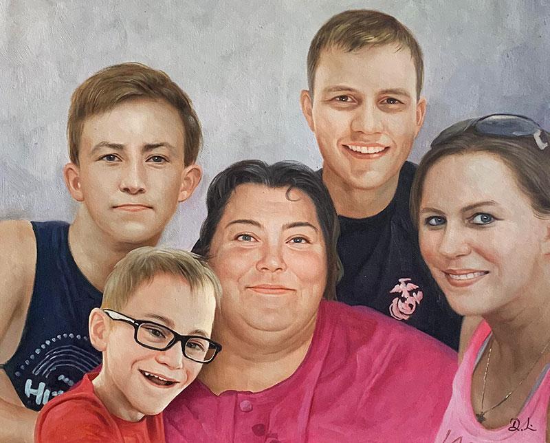Beautiful handmade acrylic painting of a family