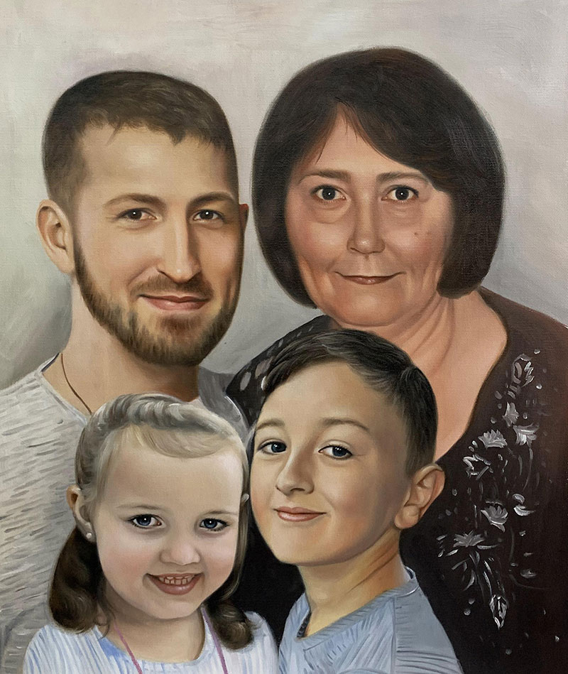 Beautiful oil artwork of a family