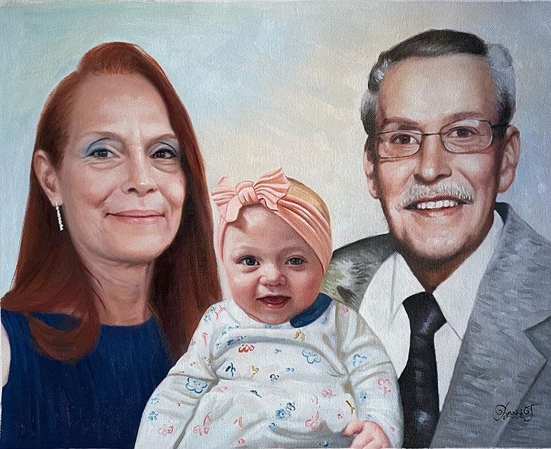Beautiful oil artwork of grandparents with a grandchild