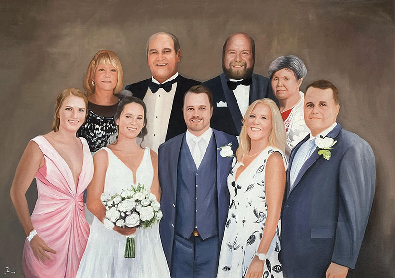 Beautiful oil painting of a just married couple with family