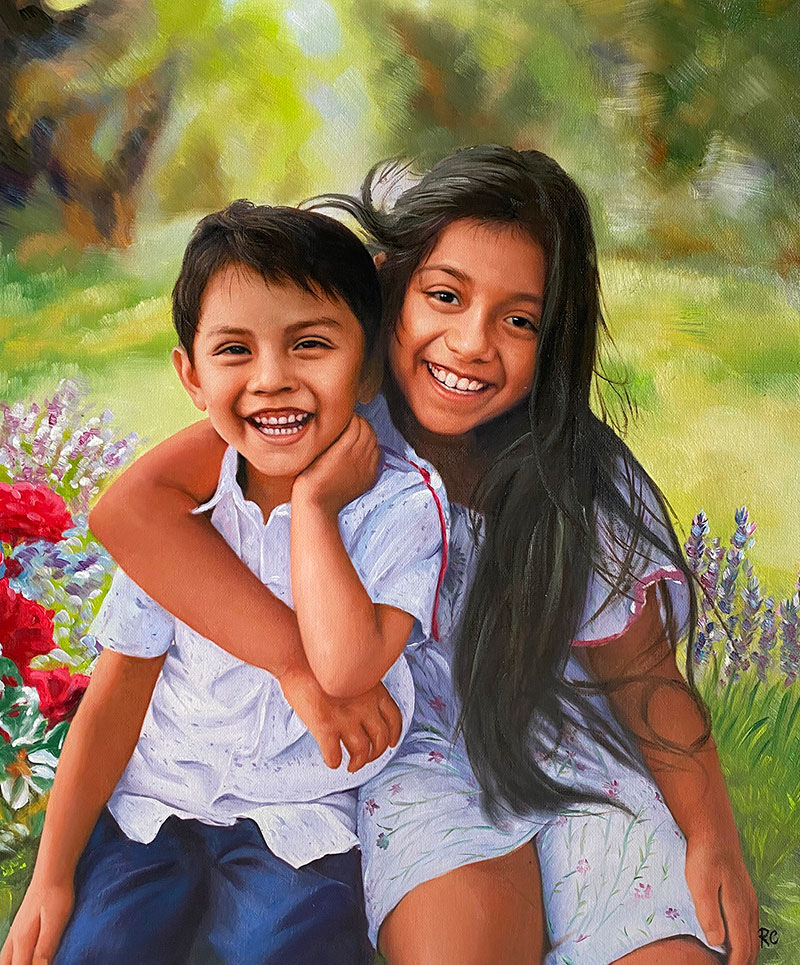 Beautiful oil painting of two siblings
