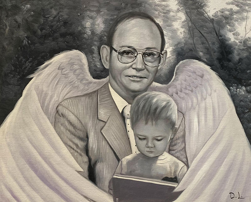 Beautiful oil painting of a man with angel wings and a kid