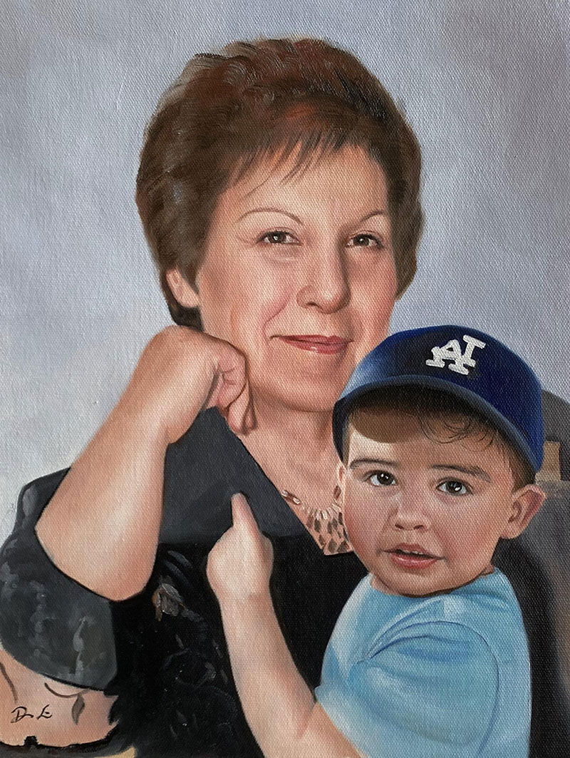 Custom oil painting of a grandmother and a grandchild