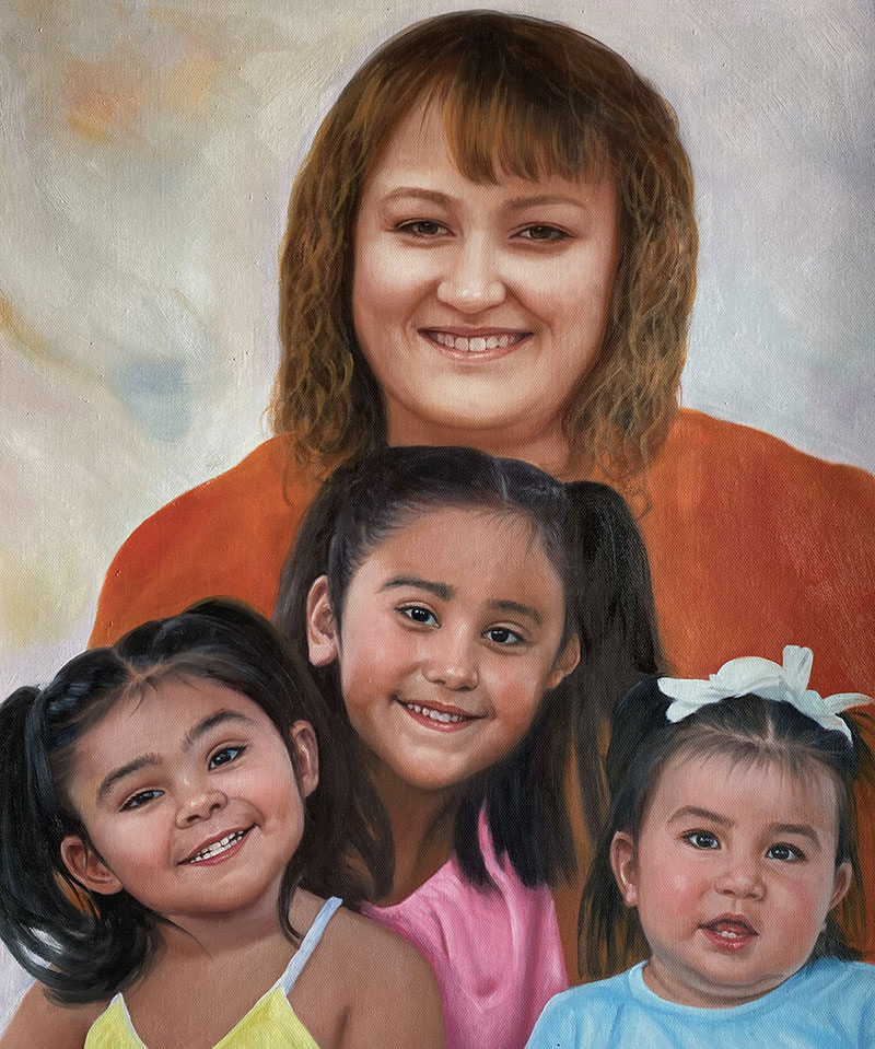 Custom handmade artwork of a mother and children in oil
