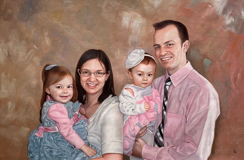 Beautiful oil painting of parents with two children
