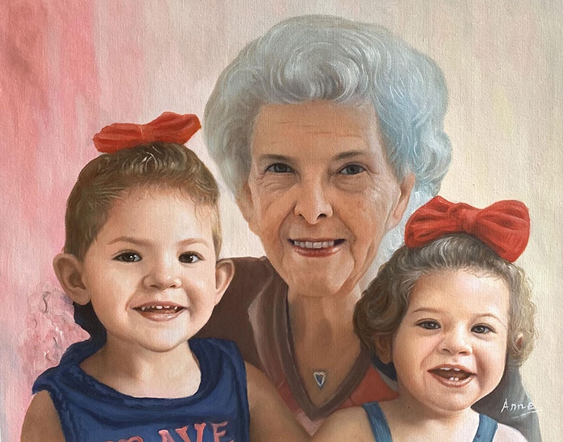 Beautiful acrylic painting of grandmother with grand kids