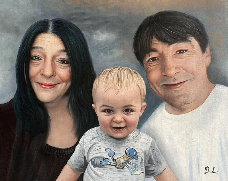 Custom oil painting of grandparents and a child