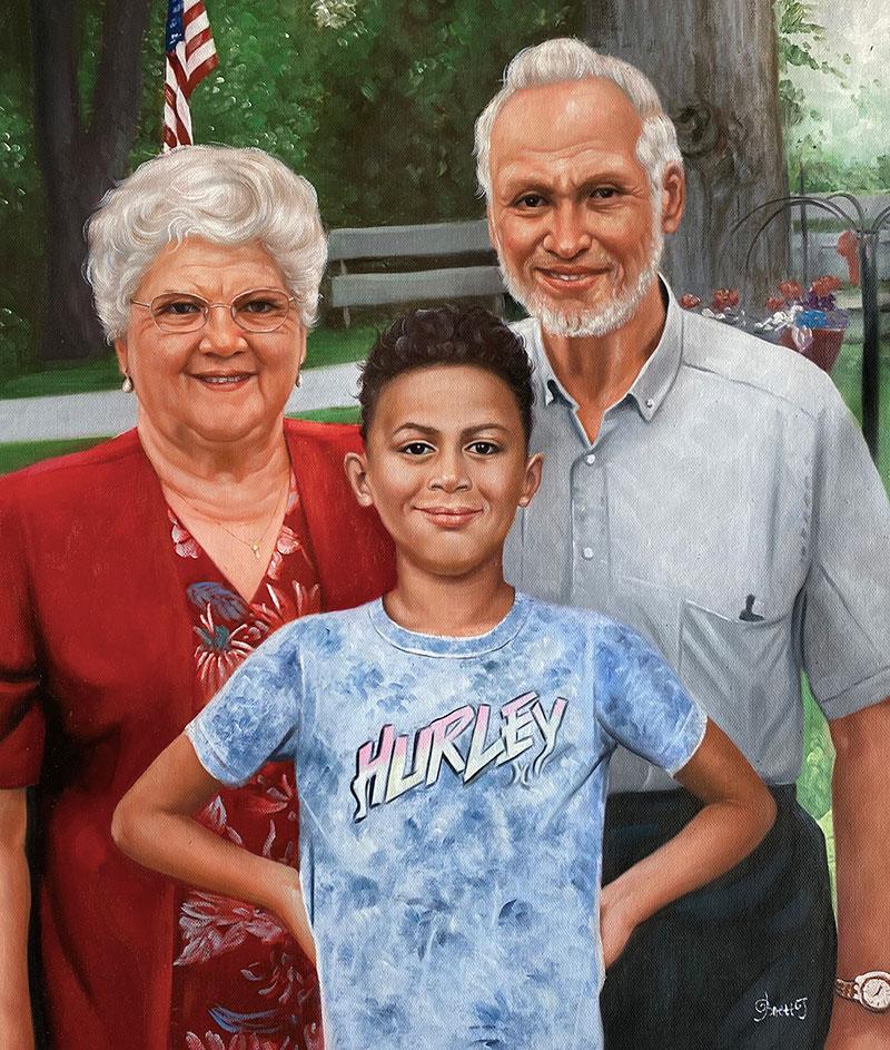 Beautiful handmade oil artwork of a family