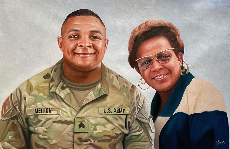 Custom handmade oil artwork of a mother and son