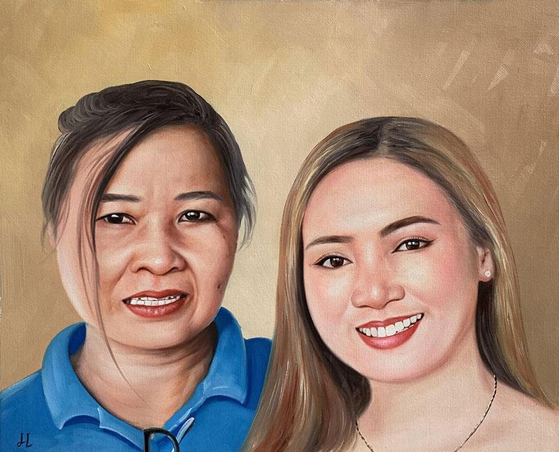 Beautiful handmade oil painting of two ladies