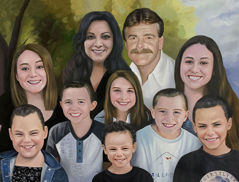 Beautiful acrylic painting of a happy family