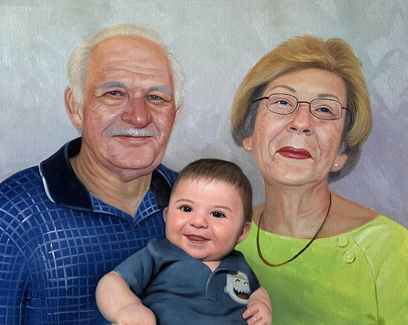 Custom oil painting of grandparents with grand kid