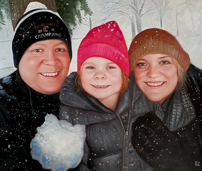Beautiful oil artwork of parents and a daughter