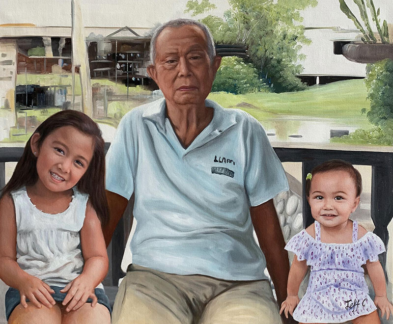 Custom oil artwork of a grandfather with two grandchildren