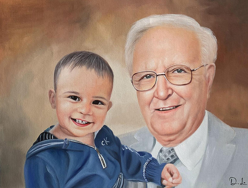 Beautiful oil painting of a grandfather and a grand kid