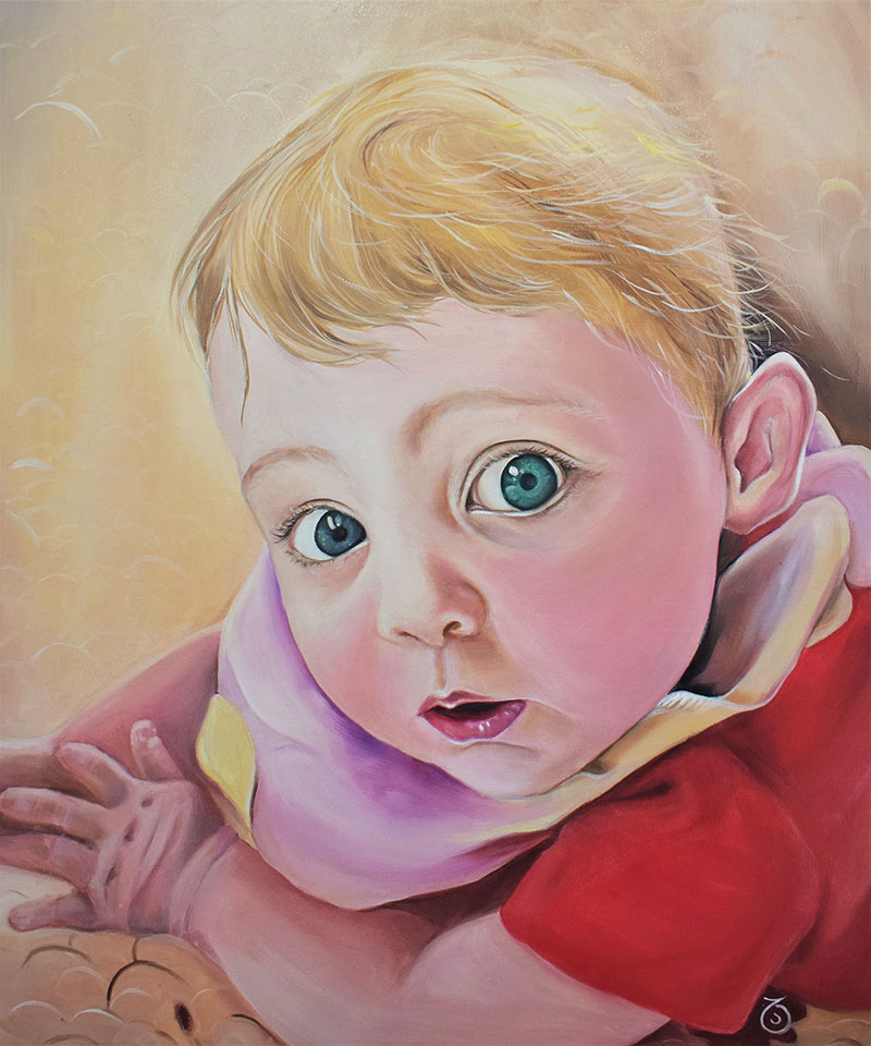 Beautiful oil painting of a child