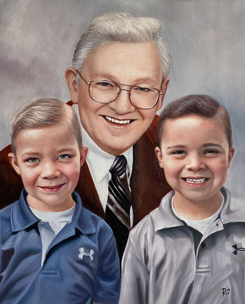 Custom oil painting of a grandfather with two grandsons