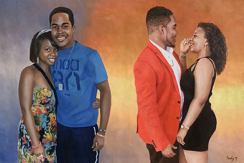 Beautiful handmade oil artwork of two couples