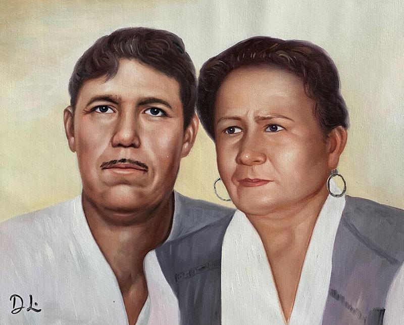 Custom handmade acrylic portrait of an elder couple