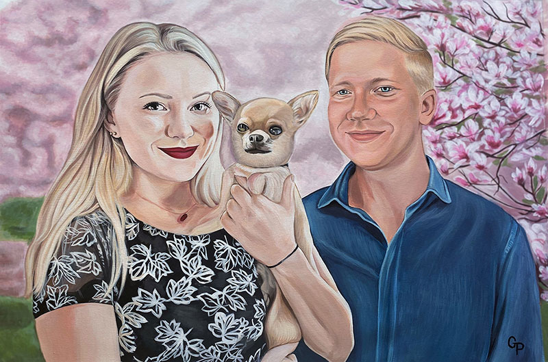Gorgeous acrylic painting of a couple with a pet