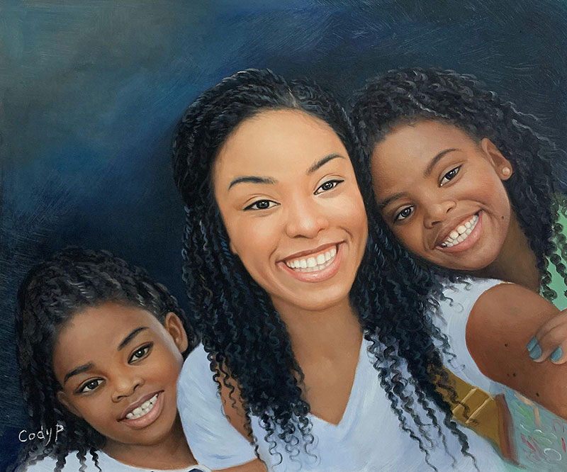 Gorgeous handmade oil painting of a happy family