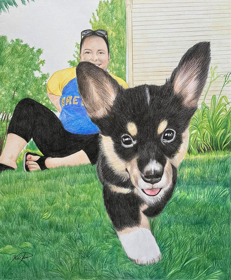 Beautiful color pencil drawing of a lady with pet