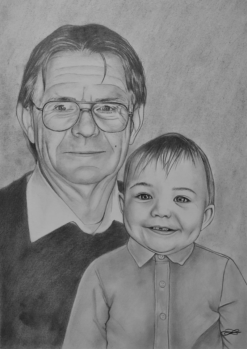 Custom charcoal drawing of a grandfather and a granchild