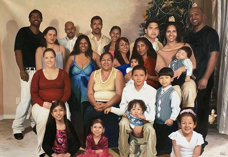 Beautiful family portrait of twenty one people in oil