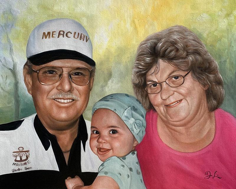 Gorgeous oil artwork of grandparent and granchild