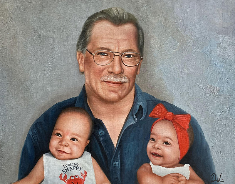 Custom oil painting of a grandfather with two grandchildren
