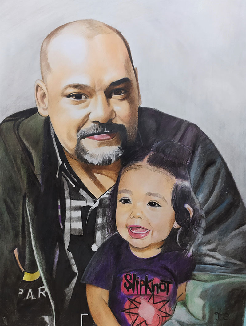 Custom color pencil drawing of a grandfather and a child